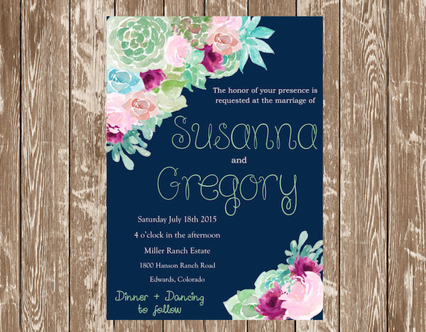 Printable Succulent Floral Wedding Invitation by Shop The Lodge On Haydon