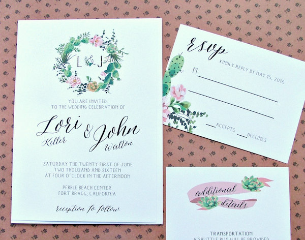 Succulent Wedding Invitation Garden Wedding by Sweet Invitations Co - midsouthbride.com