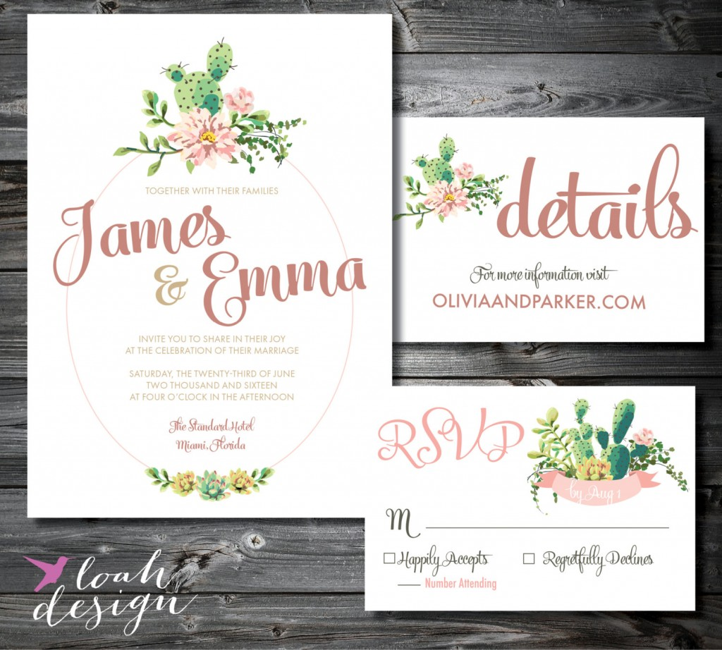 Succulent Wedding Invitation Suite Printable By Loah Design Midsouthbride