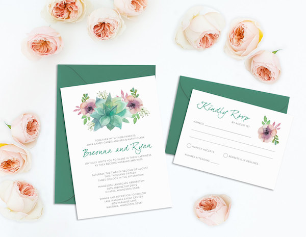 Succulent Wedding Invitation and RSVP Card Printable by Andis Invites - midsouthbride.com