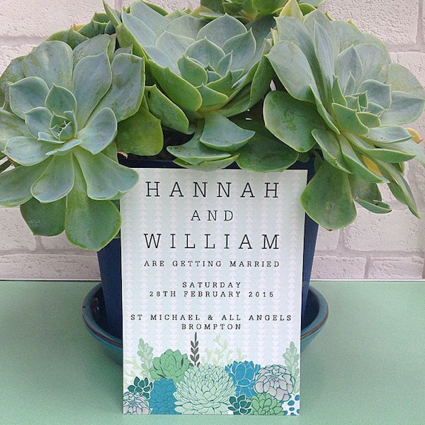 Succulent Wedding Invitation by Swoon at the Moon - midsouthbride.com