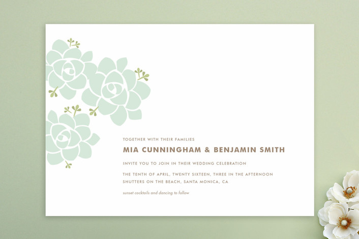 white and green succulent wedding invitation by minted - midsouthbride.com