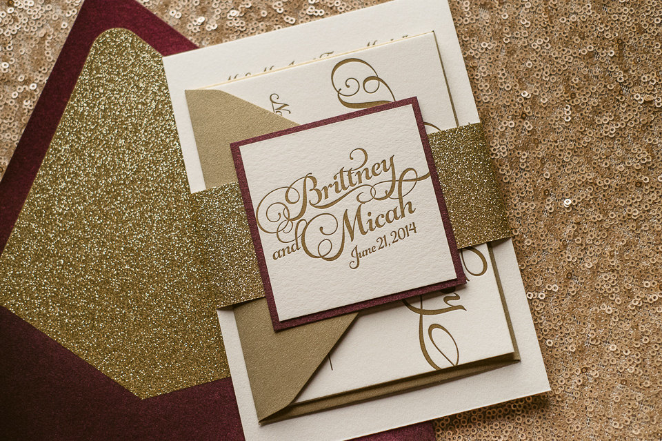 Wine Gold Fall Wedding Invitation Gold Glitter Wedding Invite