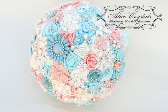 Brooch bouquet. Ivory and Champagne, light blue and pink wedding brooch bouquet