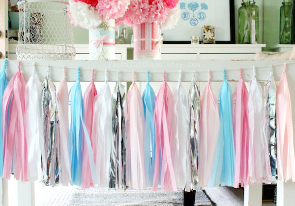 Pink, Light Blue, White and Silver Tissue Paper Tassel Garland