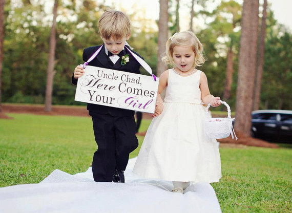 Here Comes Your Girl with Uncle (Grooms Name) Ring Bearer Sign