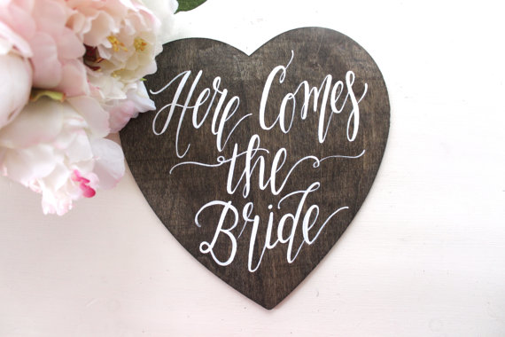 Here Comes the Bride Sign, Ring Bearer Sign, Flower Girl Sign, Rustic Vintage Wedding