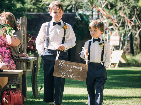 Here comes the Bride Sign, Ringer Bearer, Flower Girl - Wooden Wedding Signs