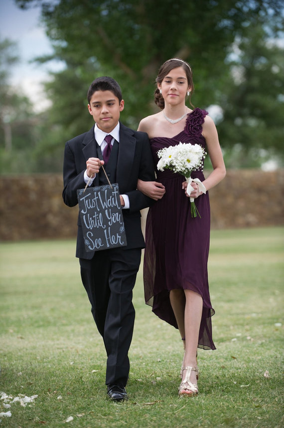 Just Wait Until You See Her Flower Girl Ring Bearer Wedding Slate Sign Hand Painted