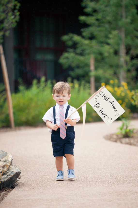 Last Chance To Run Ring Bearer Sign | Small Made To Order Wedding Flag | Funny Groom Joke For Wedding Ceremony