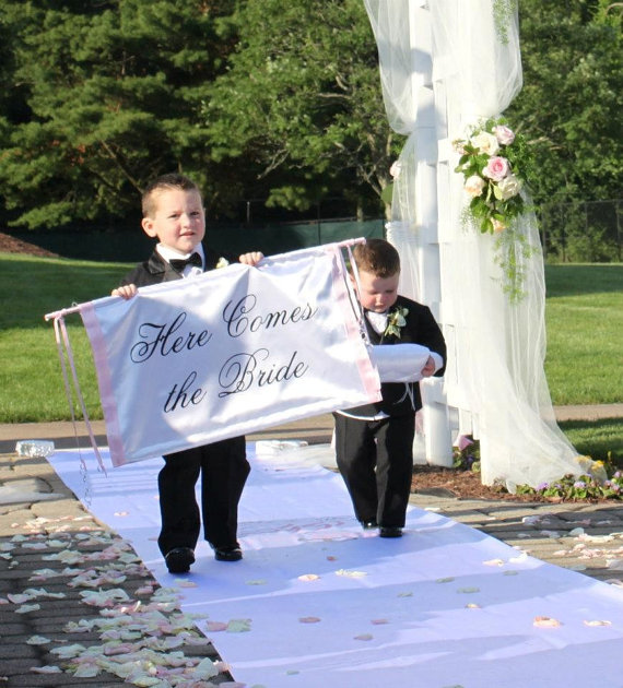 Wedding Here Comes the Bride Banner Fabric Ceremony Banner Ringbearer Flower Girl