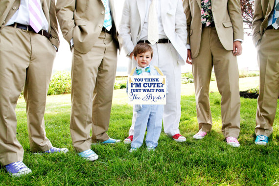 Wedding Sign Cute Niece : Nephew %22You Think I'm Cute? Just Wait for The Bride%22 Flower Girl Ring Bearer Banner