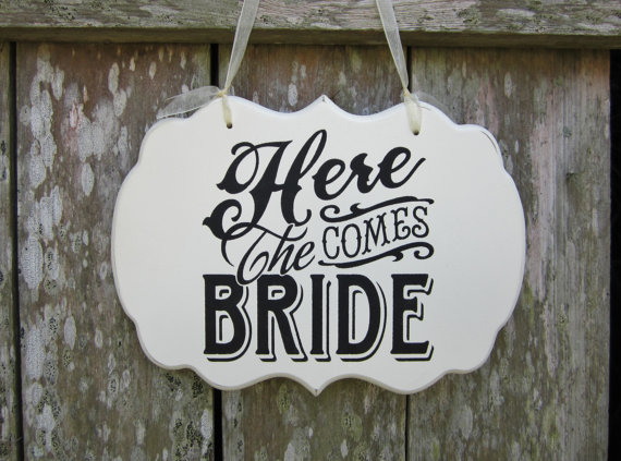Wedding Sign Hand Painted Wooden Flower Girl : Ring Bearer Sign, %22Here Comes The Bride%22 : Wedding Signage : Ring Bearer Pillow Alternative