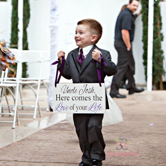 Wedding Sign | Here Comes The Love Of Your Life | Here comes the Bride | Uncle Sign | Ring Bearer Sign | Custom Wedding Sign