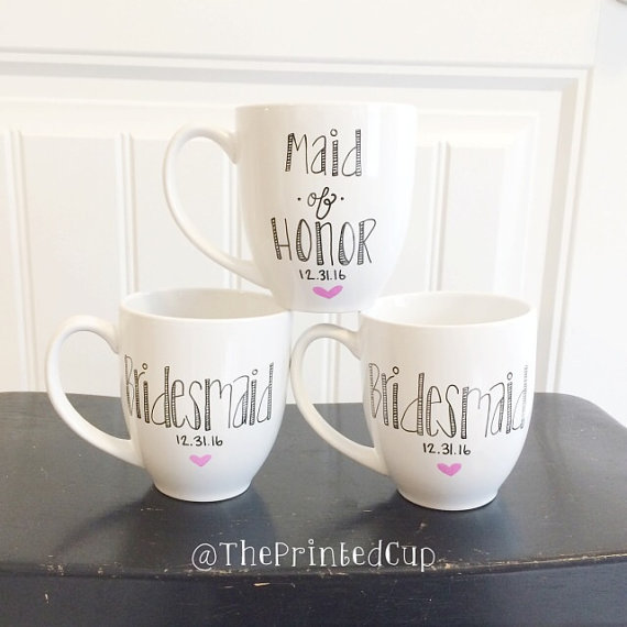 "16 oz Custom Personalized Bridesmaid Bridesmaids gift present - Bridal - Wedding -Engaged Bride engagement - Maid of Honor "" Coffee Tea Mug"