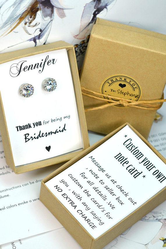 Bridesmaids Earrings,Personalized Bridesmaids Gift,Crystal Stud Earrings, Bridesmaids Studs, Bridesmaids Gifts, Bridal Party Gift