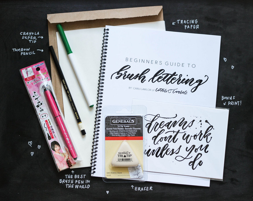 learn calligraphy - brush lettering starter kit from letters and laurels