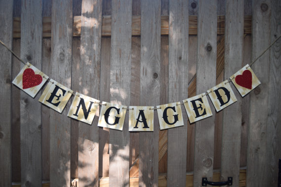 ENGAGED SIGN Banner - Wedding Banner - Rustic Wedding banner - Engagment Party Decorations - Banners