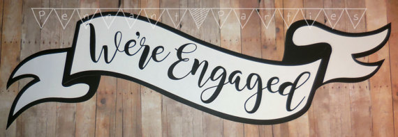 Engagement Photo Banner, Custom Scroll Banner for engagement parties