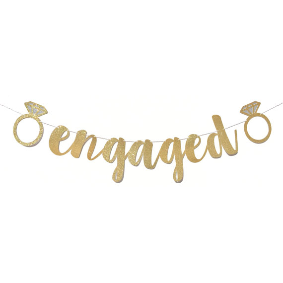 engaged ring banner Engagement Party Decorations
