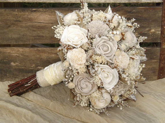 Rustic Woodland Twig And Sola Flower Bride Bouquet With Champagne Accents