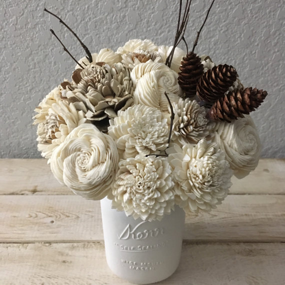 Winter Decor - Wooden Flower Bouquet - Sola Flower Bouquet
