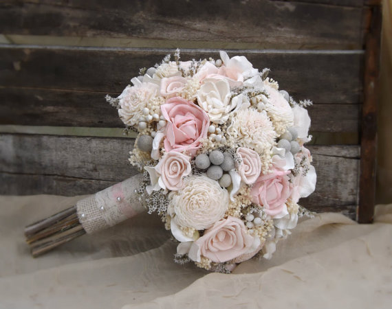 wood wedding bouquet - Sola Bouquet Pink Roses Blush Pink with Dried Flowers