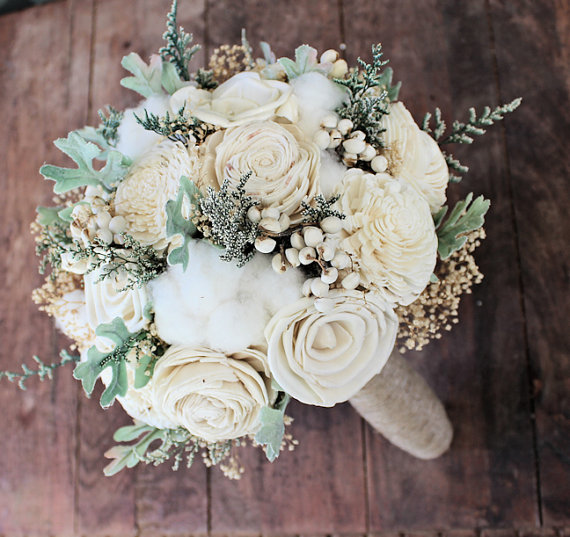 Wood Wedding Flowers Alternative Bouquet Luxe Collection Medium Ivory Keepsake Sola