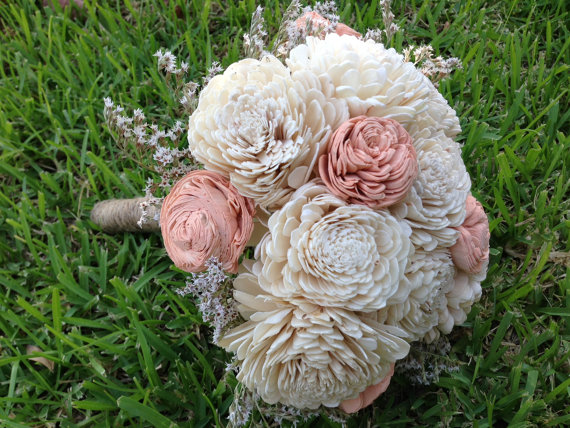 wood wedding flowers - Handmade natural balsa wood flower wedding bouquet