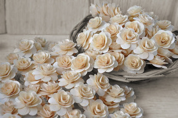 wood wedding flowers - Natural Birch Wood Roses for Weddings