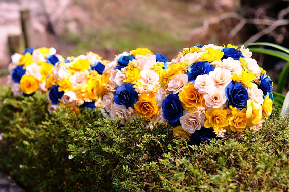 wood wedding flowers - Royal Blue and Yellow Wooden Bouquet for Wedding Bouquet or Centerpiece