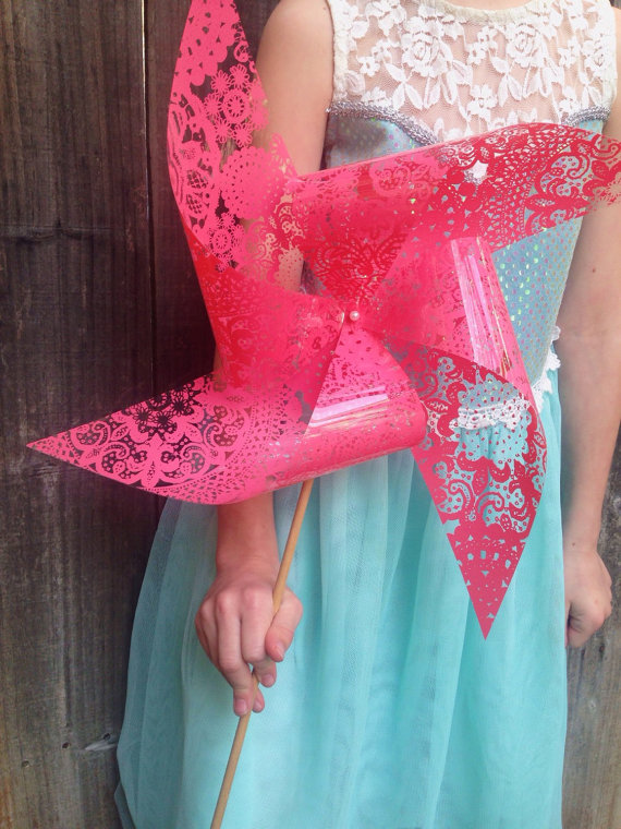 Pink Lace Pinwheel for flower girls