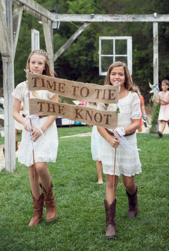 Time To Tie The Knot Burlap Banner Wedding Sign for flower girls