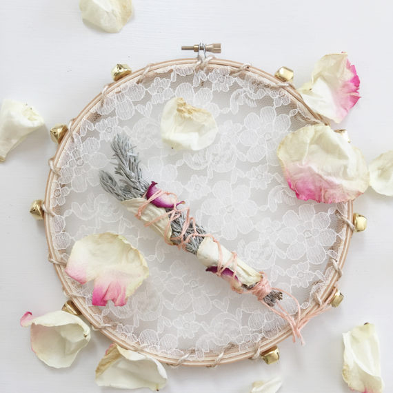 flower girl Lace Tambourine, Shabby Boho Chic Wedding Decor