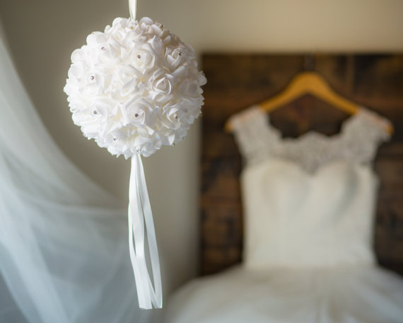 flower girl alternative White Kissing Ball - Ready To Ship - White Pomander Ball - Flower Girl Pomander