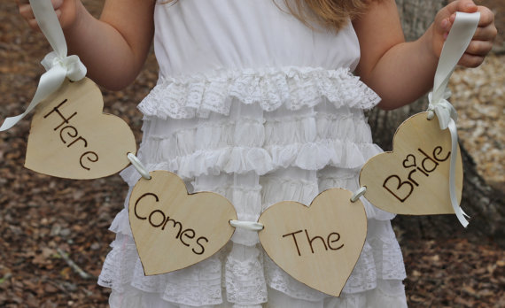 rustic Here Comes The Bride Sign Flower Girl banner