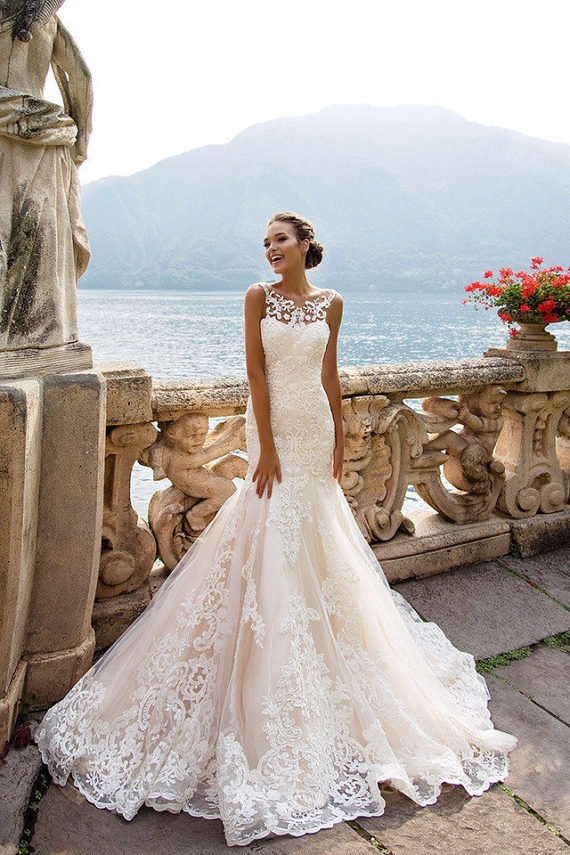 Lace Mermaid Wedding Dress by Forever Mine Bridal