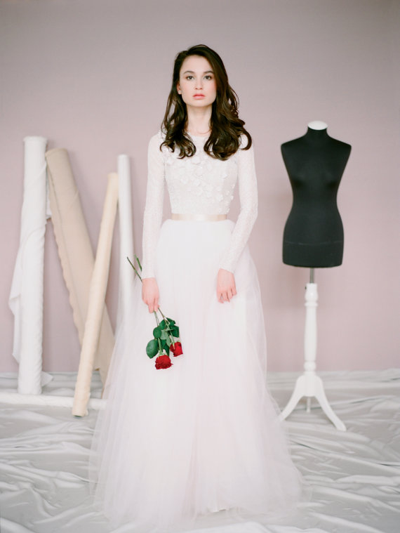 Long Sleeve Wedding Dress Amy Modest Gown Unique Embroidery Bridal Lace