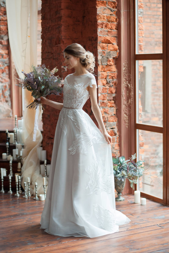 Lora : A-line wedding dress : Boned : Open back wedding dress : Covered shoulders : Short train