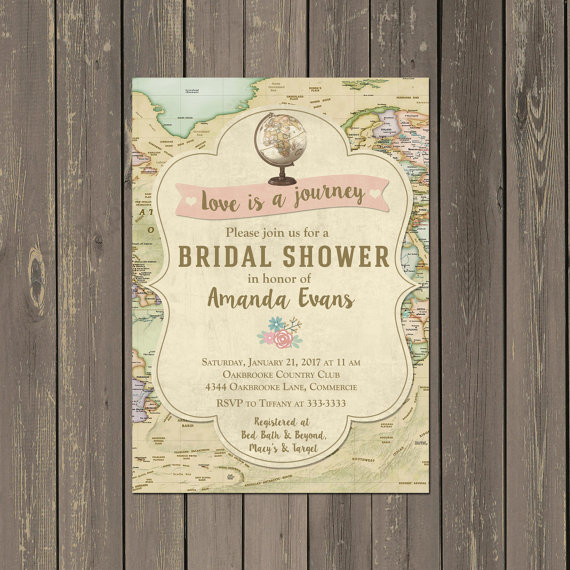 Map Travel Bridal Shower Invitation, Globe Love is a Journey Bridal Shower Invitation, Destination Wedding Shower, Printable or Printed