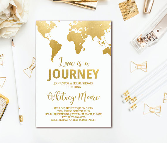 Travel Bridal Shower Invitation - Love is a Journey World Map Invitation