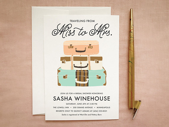 Travel Bridal Shower Invite- Miss to Mrs Printable by betty lu paperie