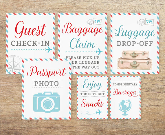Travel Bridal Shower Printable Decor Signs