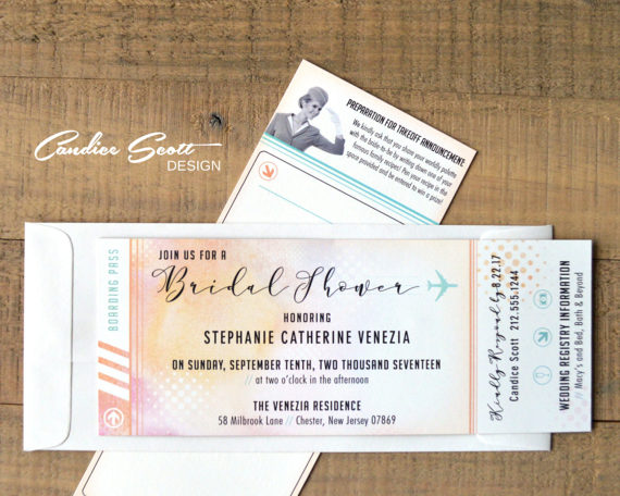Travel Theme Bridal Shower Invitation Plane Ticket and Recipe Card