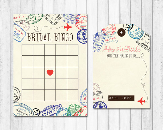 Travel Themed Bridal Bingo