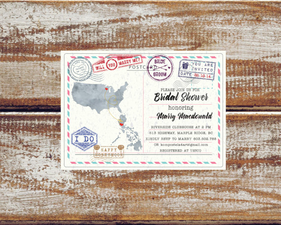 Travel theme bridal shower invitations