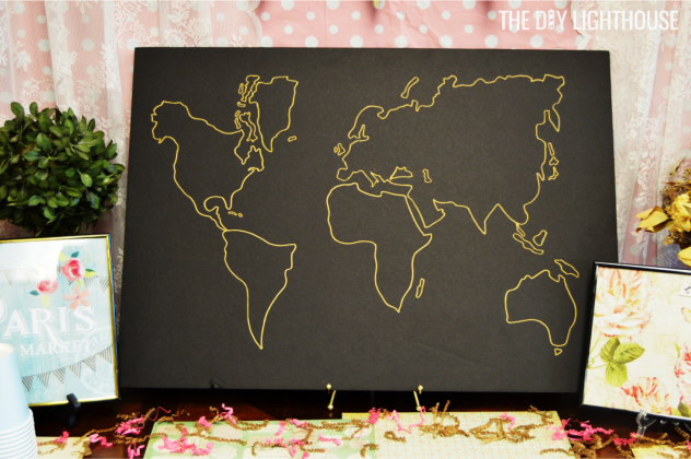 diy world map for travel bridal shower by the diy Lighthouse