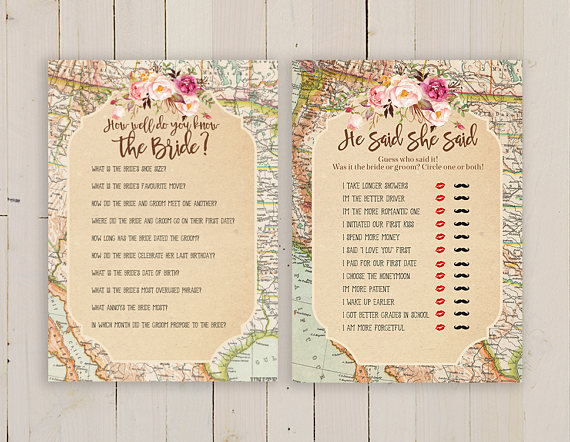 map bridal shower game pack