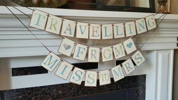 Traveling from miss to mrs, map print Banner, Travel theme Bridal Shower , miss to mrs banner, destination wedding, travel wedding