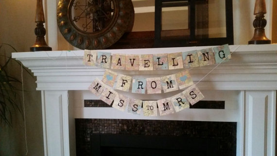 Travelling from miss to mrs, Travel theme Bridal Shower , From miss to mrs banner, destination wedding, wedding decor